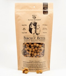 Ollie B. Biscuit Bites: Sensitive Digestion Formula Dog Treats, Honey-Ginger Flavor (Half Pound)