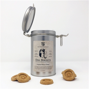 Keepsake Tin with Classic Latch Lid - Ollie B. Biscuits: Sensitive Digestion Formula Dog Treats, Honey-Ginger Flavor (Half Pound)