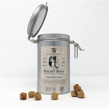 Keepsake Tin with Classic Latch Lid - Ollie B. Biscuit Bites: Sensitive Digestion Formula Dog Treats, Honey-Ginger Flavor (Half Pound)
