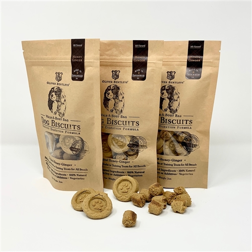 Ollie B. Biscuits & Bites Sampler: Sensitive Digestion Formula Dog Treats, Honey-Ginger Flavor (2 Ounces, 3-pack)
