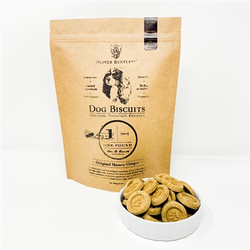 Ollie B. Biscuits - 1 Pound Bag of Sensitive Digestion Formula Dog Treats, Honey-Ginger Flavor