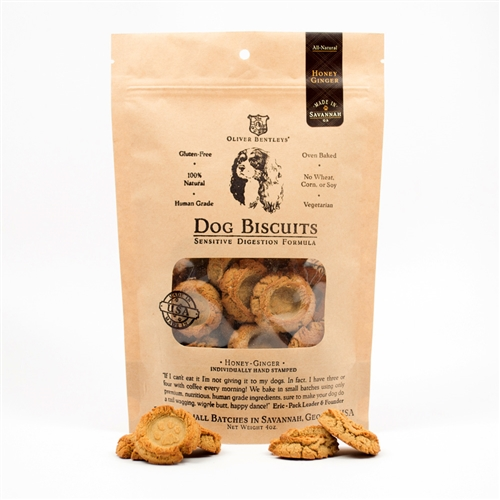 Ollie B. Biscuits - 4 Ounce Bag of Sensitive Digestion Formula Dog Treats, Honey-Ginger Flavor
