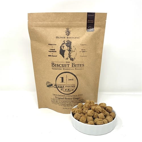 Ollie B. Biscuit Bites - 1 Pound Bag of Sensitive Digestion Formula Dog Treats, Honey-Ginger Flavor